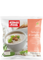 Cream of Cannellini bean soup with basil - Asiago Food