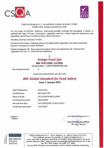 Certificazione BRC grade A Asiago Food.