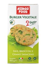 Broad bean, broccoli and buckwheat Veggie Burger - Asiago Food