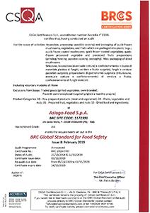 Certificazione BRC grade AA Asiago Food.