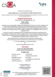 Certificazione IFS Food version 6.1 - higher level Asiago Food.