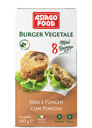 Mini burger vegetale soia e funghi con porcini 150g - Asiago Food
