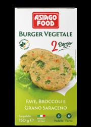 Broad bean, broccoli and buckwheat Veggie Burger - Asiago Food