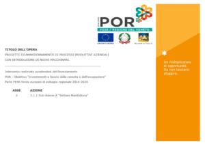 Poster progetto di ammodernamento dei processi produttivi aziendali POR 2014-2020